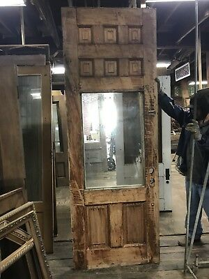 "Antique Victorian Exterior Door With 1/3 Glass. Nice Detail 102"" X 36""x2.25"" Old"