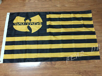 WU-TANG NATION FLAG 3x5FT 90x150CM TWO GROMMETS BLACK YELLOW