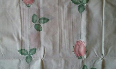 Unused Vintage Twin Or Single Flat Sheet ~ Pink Rosebuds ~ 50% Cotton/50% Poly