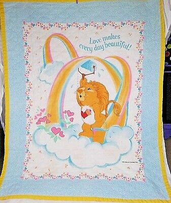 Vintage CARE BEARS Baby Quilt Blanket Lion Heart Painting 1985 American Greeting