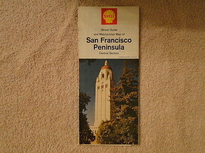 Vintage 1967 Shell Map Of San Francisco Peninsula Central Section