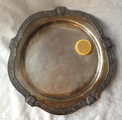 Poole Silver Co.Silver Plate Tray 9850 Round Asian Fishing Village Border 13.5