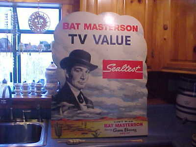 1950s Sealtest Ice Cream TV NBC Bat Masterson Gene Barry  store display SIGN