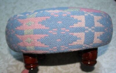 Welsh tapestry footstool . Small wooden turned feet. Pink/blue and cream