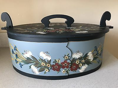 "Beautiful Antique Hand-Painted Dutch Wooden Hat Box 20"" X 14"" X 7"""