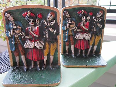 Vintage Original 1920's Cast Iron Jester Clown Cold Painted Bookends