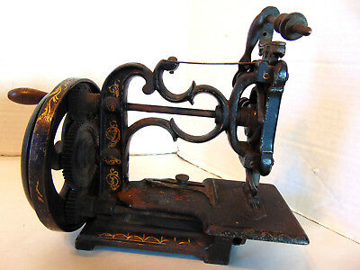 Antique 1860's Hand Crank Sewing Machine New England Cast Iron Hand Painted