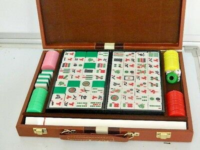 DELUX 1980's MAH JONG GAME SETS IN BROWN BRIEF FAUX LEATHER CASE ORIG BOX+MANUAL
