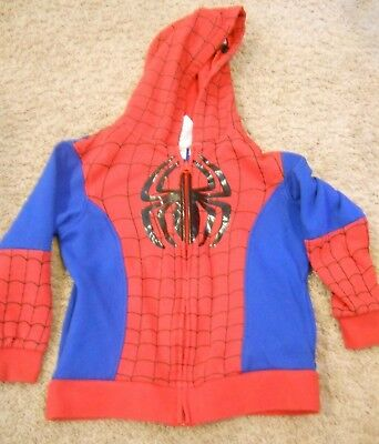 size 7 Boys Spider-Man hoodie sweater full zip up with mask