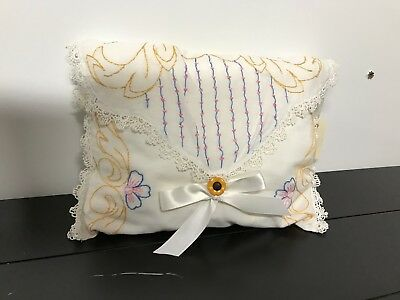 Vintage Fabric HAND EMBROIDERED Beautiful Pillow!! Great For Display