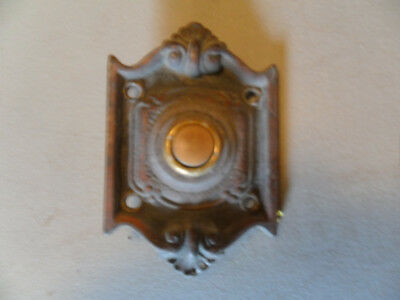 Vintage Brass Door Bell Plate And Button