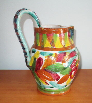 Italian Pottery Pitcher Jug Hand Painted Sgraffito Folksy Flowers Signed