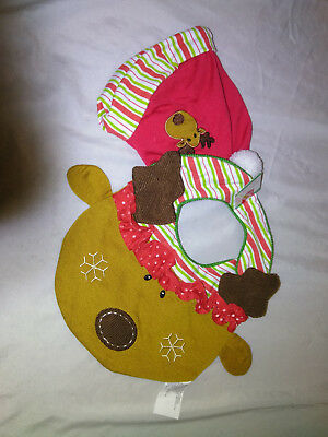 NWT-Home Elements Super Cute BABY'S SANTA HAT AND BIB (REINDEER DECORATION) OS
