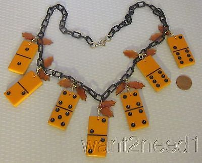 vtg tested AMBER BAKELITE DOMINO NECKLACE chunky dangling black celluloid chain