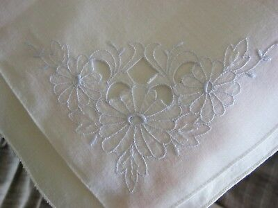 Embroidered & Embelished Powder Blue Daisies Vintage Handkerchief!Unique &Lovely