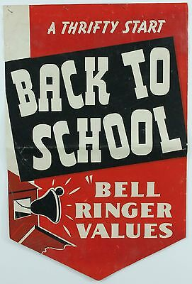 Vintage Back to School Thrifty Values Double-Sided Red 1950s Shop Ad Poster