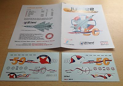 "1:72  Lift Here Decals #780-LH ""Jubilee"", MiG-21's Golden Anniversary Tail"