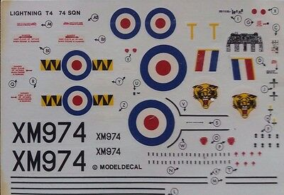 1:72 Modeldecal - EE Lightning T4, 74 SQN. Without instructions