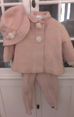 Antique/Vtg Child's PINK WOOL Snow Suit Three Piece Set Hat Jacket and Pants