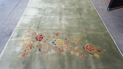 antique Art Deco Chinese rug 6 x 9 hand knotted 1940s - picking  vintage