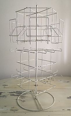 ANTIQUED CARD & JEWELRY DISPLAY RACK - White Carousel Multi Level - 360 Spin 29""