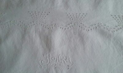 """ANTIQUE LINEN PILLOW SHAM OR COVER ~ WHITE-ON-WHITE EMBROIDERY ~ 17""""x23"""""""