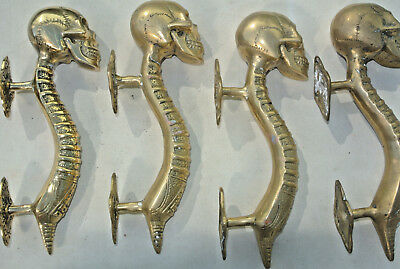 """4 small SKULL head handle DOOR PULL spine AGED  BRASS old style 8"""""""