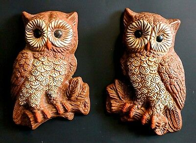 Vintage Owl Wall Art Hangings 1970s Retro Decor 3D Hard Foam Owls 8 x 5 - Pair