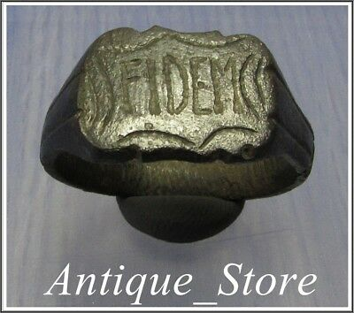 **TOP** FIDEM  ** Ancient Bronze LEGIONARY Roman Ring ** HUGE 11.18g **