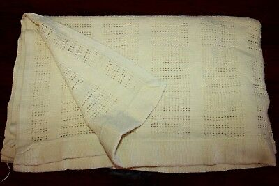Vintage Woven Cotton Baby Blanket Solid Yellow 52x42
