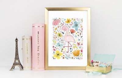 Pretty Pink Flamingo with Flowers Watercolor Art Print for Children's Room