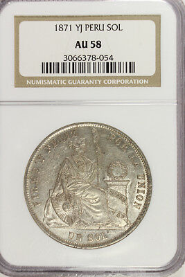 1871 YJ PERU SILVER UN SOL NGC AU-58  Beautiful Lightly Toned Coin