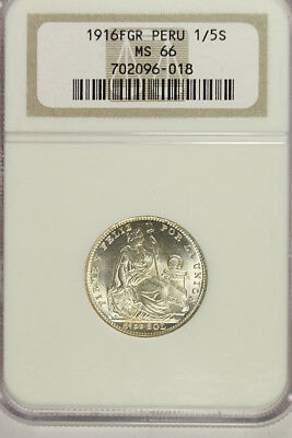 1916 FGR PERU SILVER 1/5 SOL NGC MS-66  Beautiful Coin Great Luster