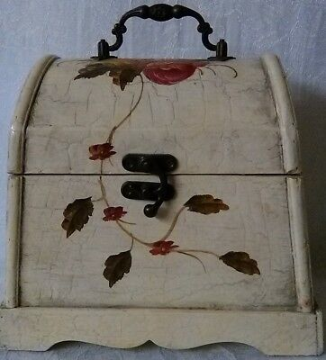 Vintage Antiqued Wooden Keepsake Chest With Metal Hinges, Handle, & Swing Clasp