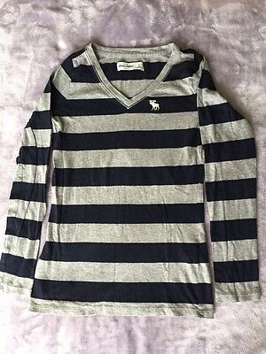ABERCROMBIE Kids Girls SMALL S Top Sweater Long Sleeve Navy Blue with Gray