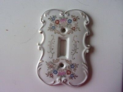 Antique Porcelain Light Switch Cover ~ Hand Painted ~ Floral