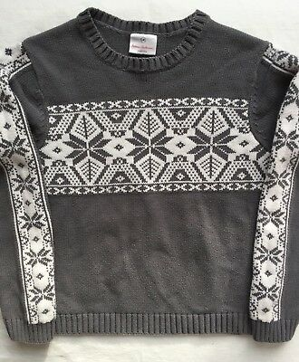 Hanna Andersson Pullover Sweater Size 140 (10) EUC Gray w/ Snowflake Cotton