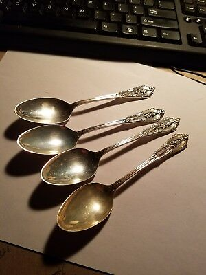 Lot of Four Wallace Sterling Rose Point teaspoons
