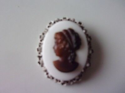 Antique Milk Glass Cameo With Amber Woman Set In Floral Background