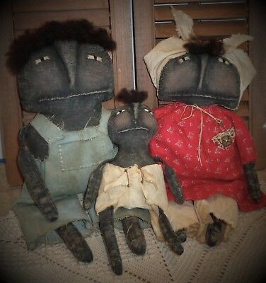 3 Primitive Black Folk Art Family Dolls*Mama-Papa and Baby*Red Dress*Wool Hair*