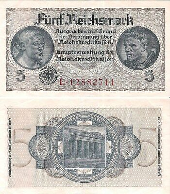 GERMANY 5 Reichsmark (Occupational Note) 1940-45, Pick R138, Very Fine  *RARE*