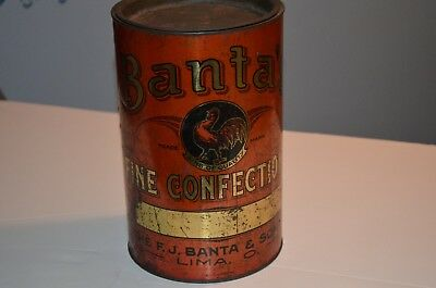 Vintage Store Advertising Tin Banta's  Confections Candy Store Display Rooster