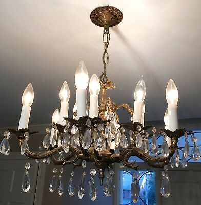 VINTAGE ORNATE BRASS & CRYSTAL CHANDELIER ~ Made in Spain ~ 6 Arms, 12 Lights