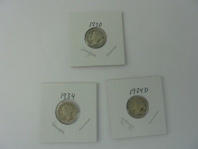 Lot 0f 3 Winged Liberty Head or Mercury Dimes 1930,1934, & 1934D Circulated