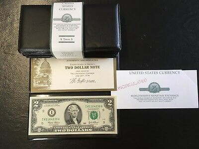 Lot of 5_World Reserve Monetary Exchange 2003 US $2 Dollar Bill - Uncirculated