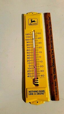 Vintage John Deere advertising thermometer - metal farm tractor implement sign