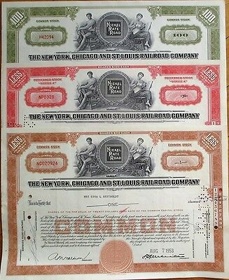 Nickel Plate / NY, Chicago & St. Louis Railroad THREE 1950s Stock Certificates