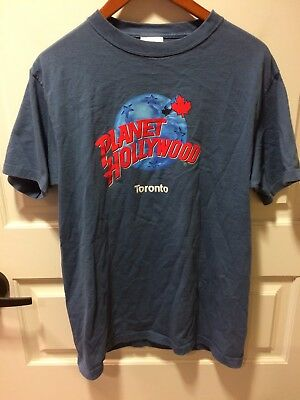 Pre-Owned  Blue Tee Shirt Planet Hollywood Toronto Size Medium