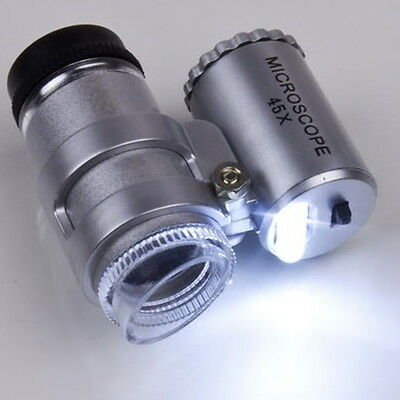 45X Pocket Loupe Microscope, Coins Stamps Jewelry Magnifier LED (a)