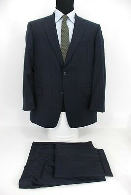 Recent Hart Schaffner Marx Gold Trumpeter 2Btn Navy Blue Stripe Suit Wool 42R